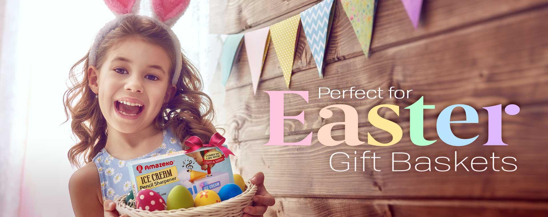 Girl with easter basket containing Amazeko pencil sharpener